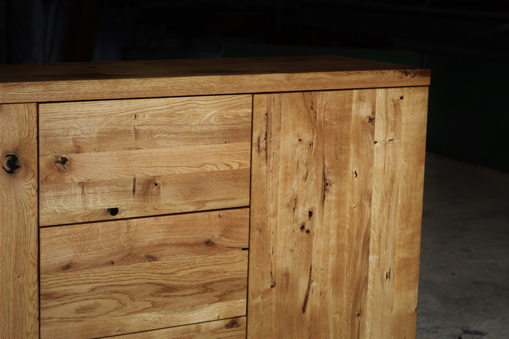Naturalna komoda z litego drewna dębowego #2
