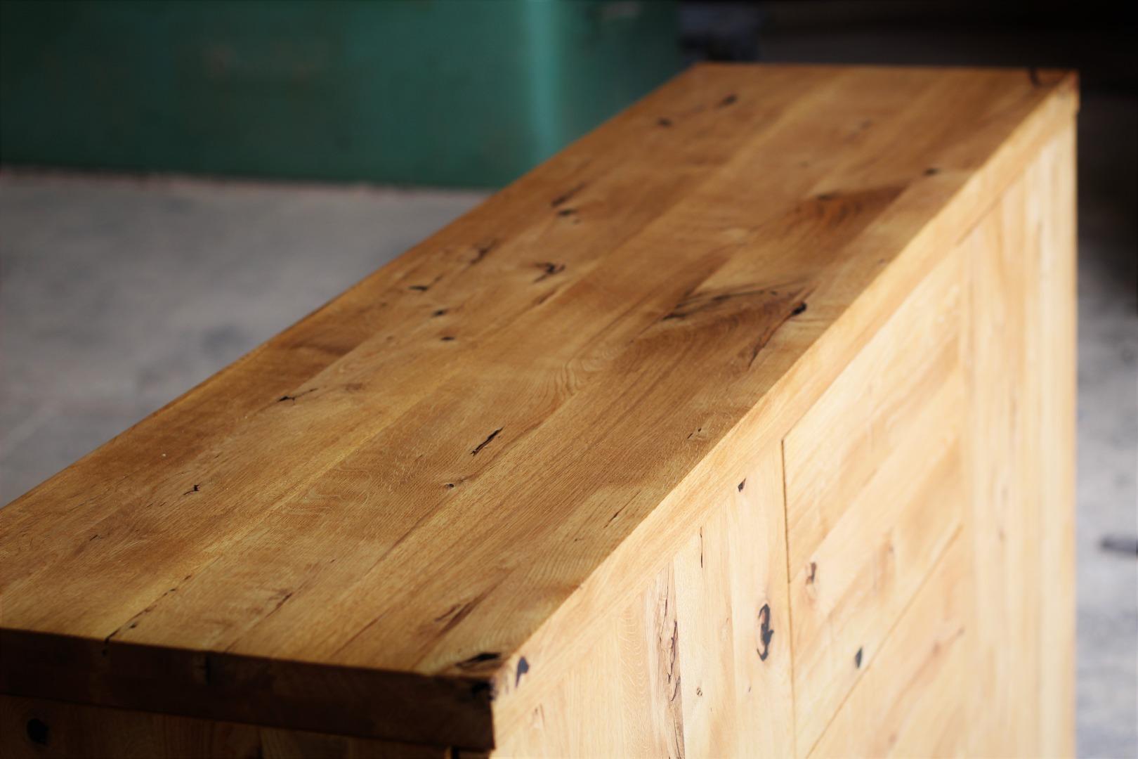 Naturalna komoda z litego drewna dębowego #7