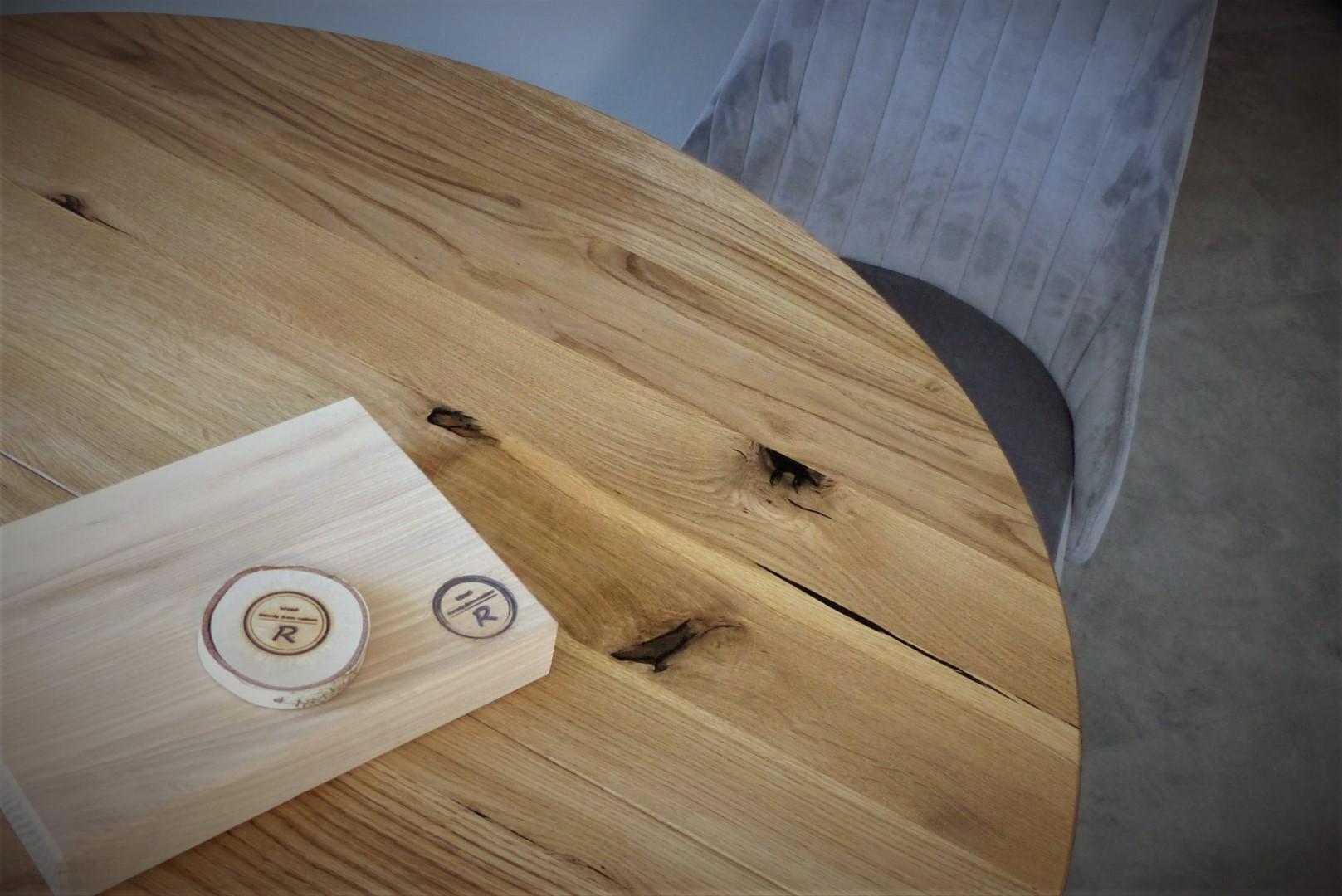 Okrągły stół dębowy z nogami z litego drewna #5