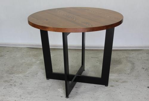 Stół okrągły z blatem drewnianym